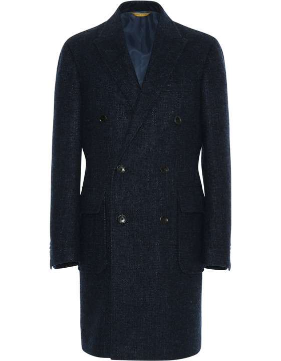 Blue Melange Double-breasted Overcoat 1