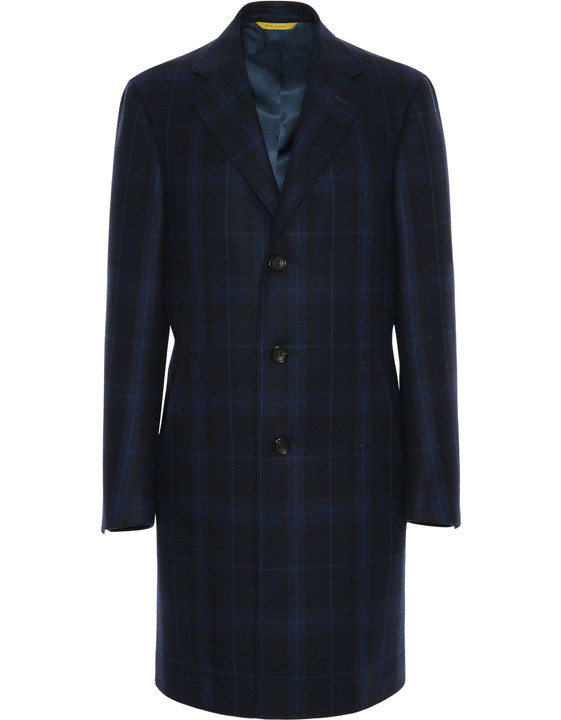 Blue Wool and Cashmere KEI Coat with Checks