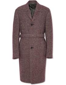 Bordeaux and Beige Wool-Alpaca Overcoat with Top Construction
