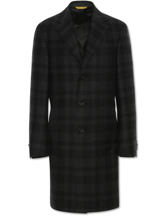 Charcoal Gray Waterresistant Wool KEI Overcoat