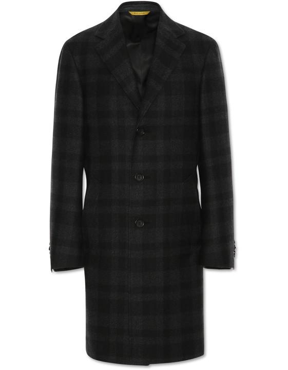 Charcoal Gray Waterresistant Wool KEI Overcoat
