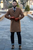Slim-fit quarter length overcoat
