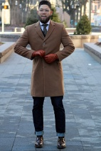 Slim-fit quarter length overcoat