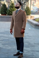 Kenneth Cole Reaction Raburn Overcoat in Camel