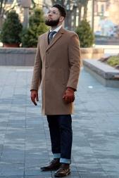 Kenneth Cole Reaction Raburn Overcoat in Camel